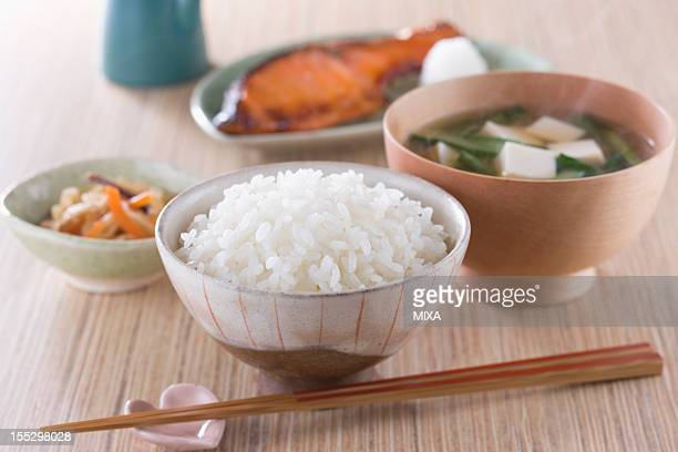 Steamed Rice with Side Dishes