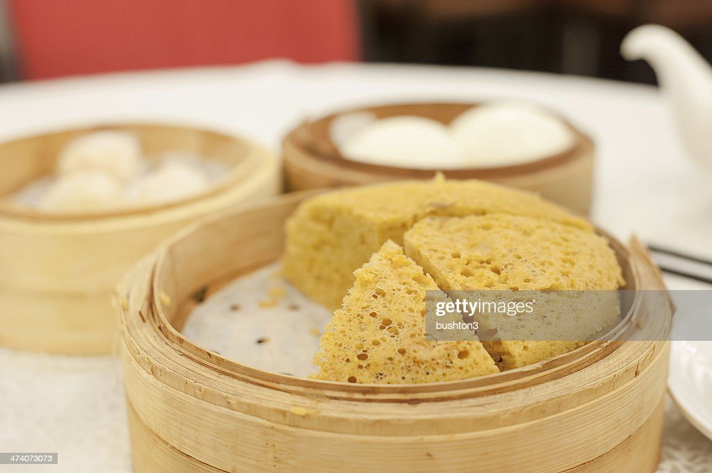 Steamed sponge cake at Hong Kong dim sum restaurant : Stock Photo