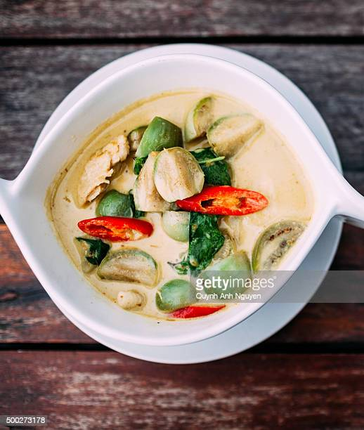 Steamed thai fish curry custard mousse (Hor Mok) wrapped in banana leaves