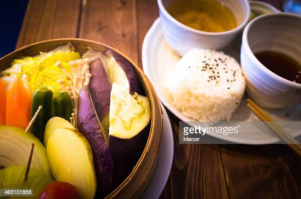 steamed vegetables with rice and miso soup - 蒸し ストックフォトと画像