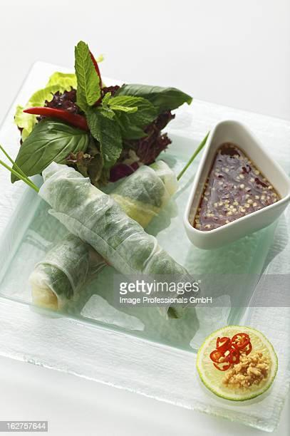 steamed vietnamese spring rolls with fish sauce - cultura vietnamita foto e immagini stock