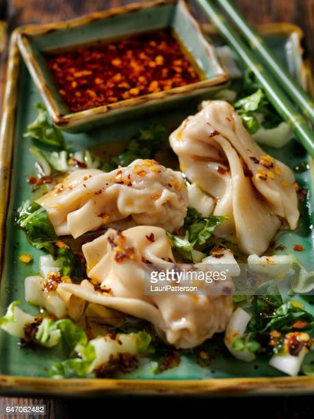 Steamed Wontons With Bok Choy and Chili oil