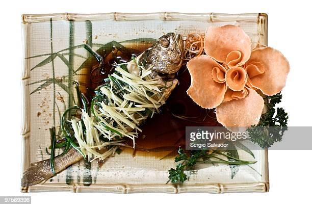 Steamed yellow fish with ginger and scallion