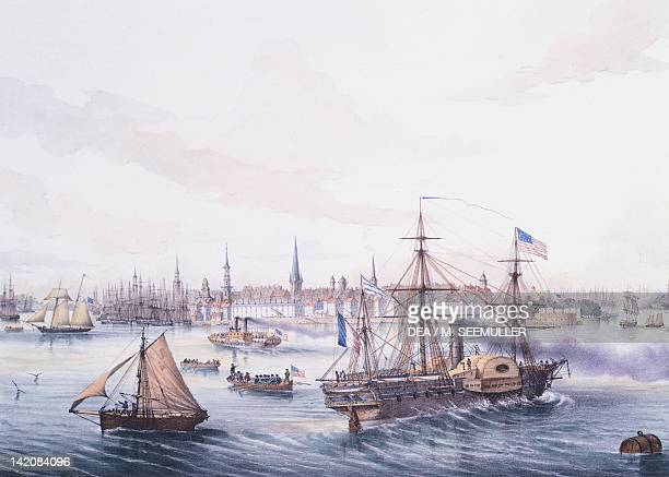 Steamer arriving into New York Port, United States Of America 19th century.