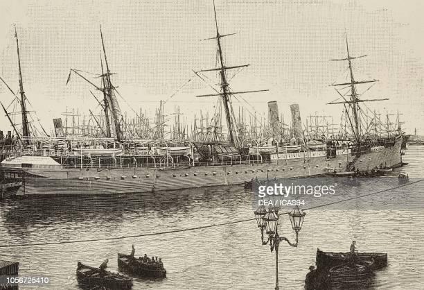 Steamer Duchessa di Genova owned by the Italian company La Veloce, engraving from L'Illustrazione Italiana, year 16, no 29, July 21, 1889.