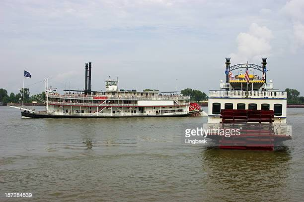 steamers on the mississippi river - vintage steamship stock photos and pictures