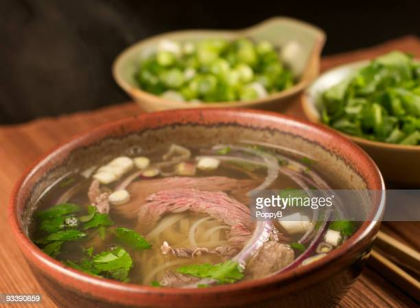 Steaming Bowl of Pho Vietnamese Beef Soup