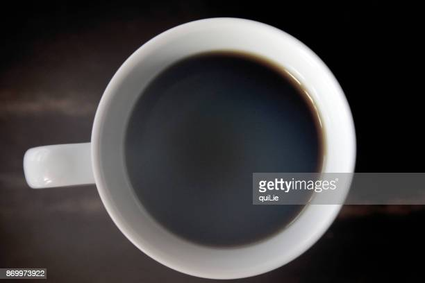 A steaming coffee