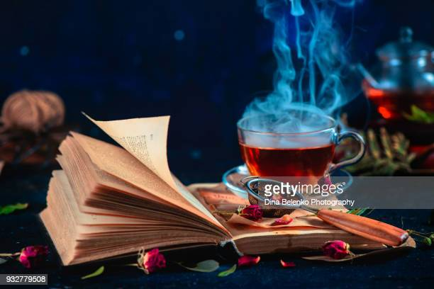 steaming cup of tea on an open book with curly pages. herbal drink with rose petals. dark food photography with copy space. - potion stock photos and pictures