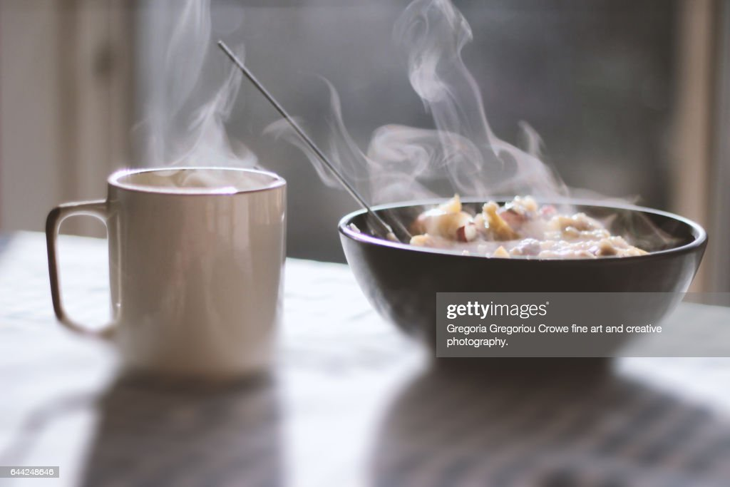 Steaming Porridge And Tea : Stock Photo