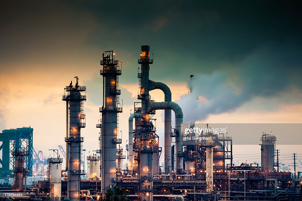 Steaming Refinery at Sunrise : Stock Photo