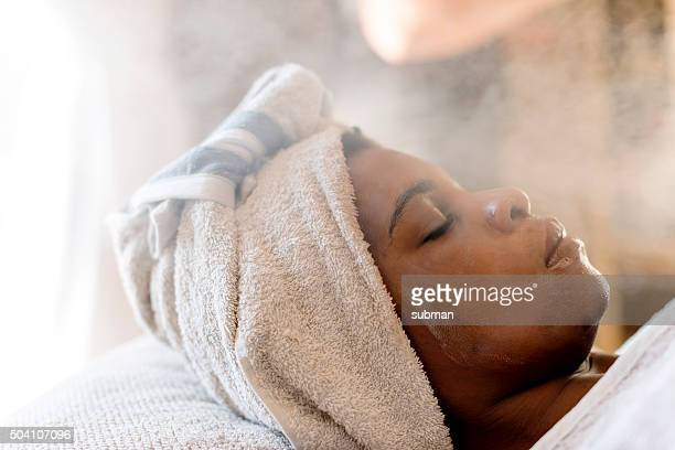 steaming treatment at the spa - steam stock pictures, royalty-free photos & images