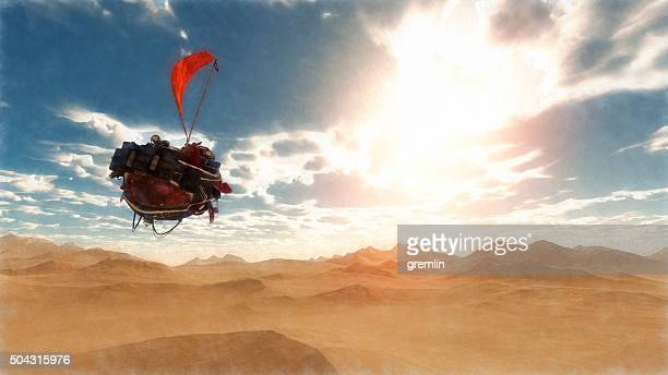 Steampunk airship flying over fantasy desert landscape