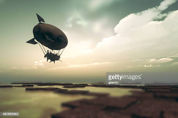 Steampunk airship flying over fantasy landscape