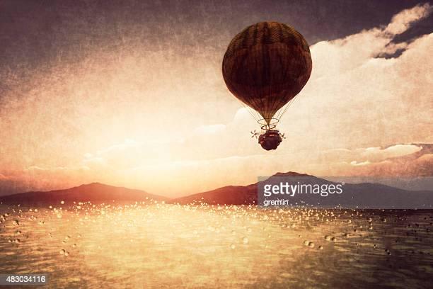 steampunk d'airship survolant paysage de fantaisie - steampunk photos et images de collection