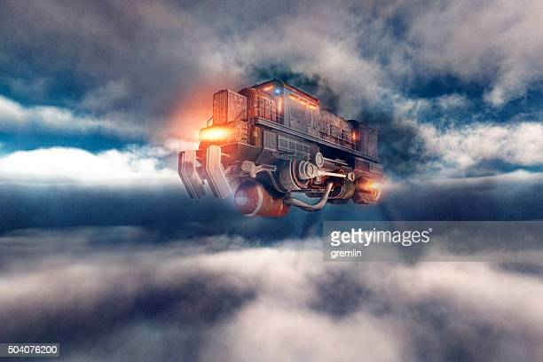 Steampunk airship flying train in the sky