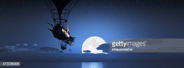 Steampunk Dirigible flying with moon setting over ocean