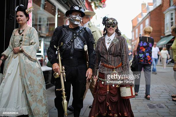 Steampunk enthusiasts attend the Asylum Steampunk festival on August 29 2015 in Lincoln England The Asylum Steampunk Festival is the largest and...
