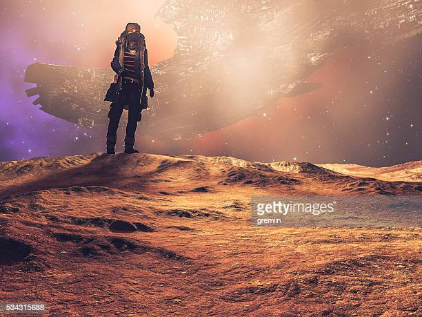 Steampunk explorer on distant planet, spaceship, desert