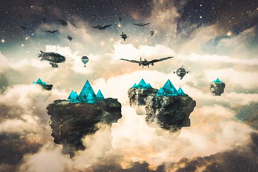 Steampunk fantasy floating islands and spacecrafts - gettyimageskorea
