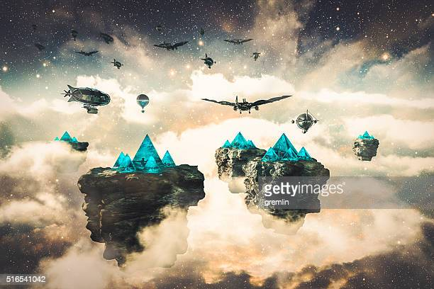 steampunk fantasy floating islands and spacecrafts - ancient civilization stock photos and pictures