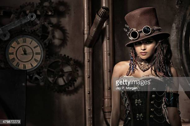 Steampunk girl in top hat
