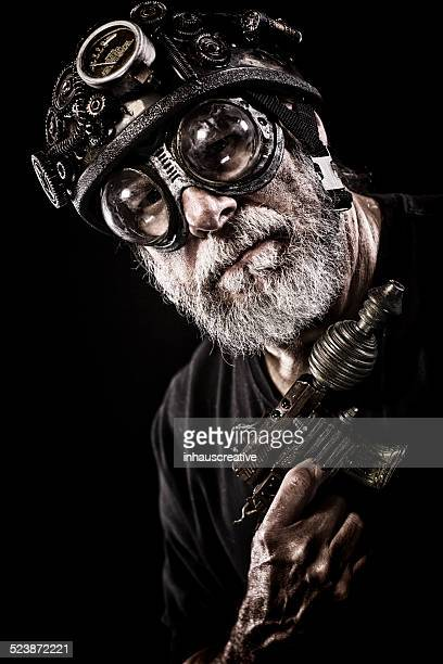 steampunk guy looking at camera - steampunk stock pictures, royalty-free photos & images