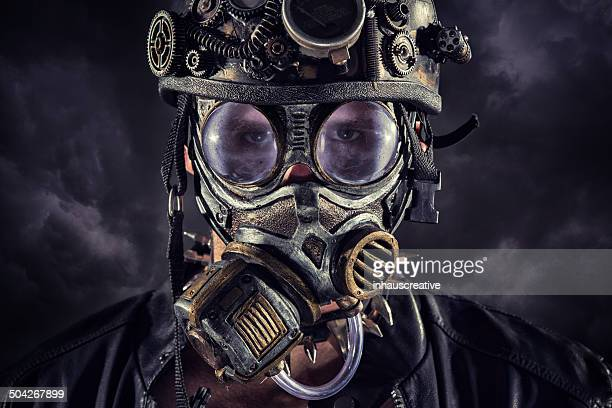 Steampunk guy on a cloudy background