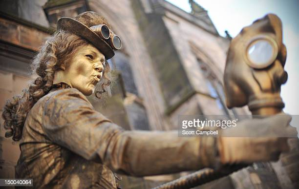 Steampunk Lady performs on the Royal Mile during the Edinburgh Festival Fringe on August 9 2012 in Edinburgh Scotland