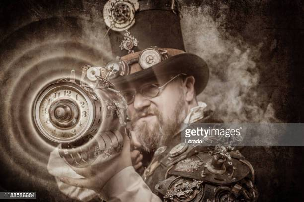 steampunk male military character in a studio shot - time travel stock pictures, royalty-free photos & images