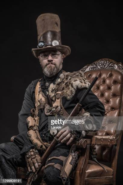 steampunk male military character in a studio shot - major stock pictures, royalty-free photos & images