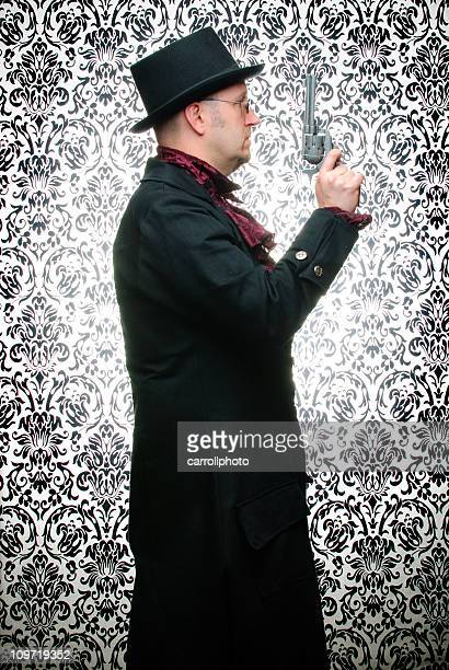Steampunk Man with Pistol Against Damask Background