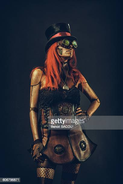 Steampunk robot woman with red hair