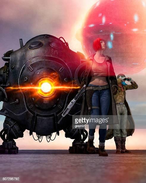 Steampunk espacio superhéroe equipo