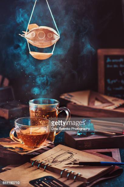 Steampunk tea with a zeppelin