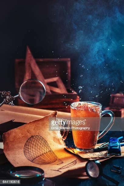 Steampunk tea with blueprints