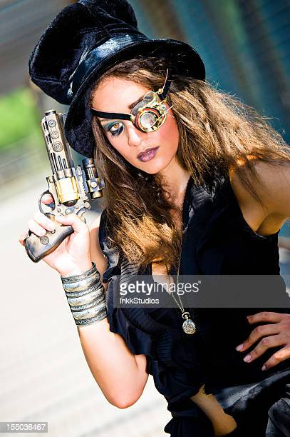steampunk woman - victorian erotica stock photos and pictures