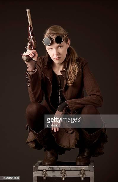 Steampunk Frau mit Waffe