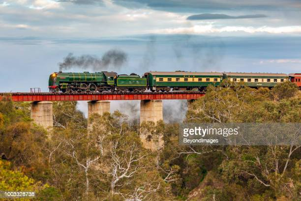 steamranger southern encounter tourist train with steam locomotive 621 crossing currency creek bridge - locomotive stock pictures, royalty-free photos & images