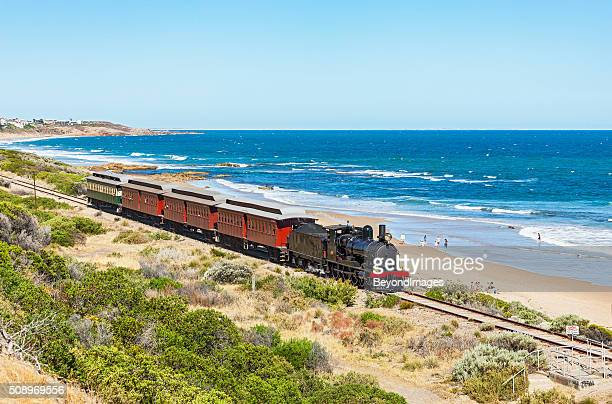 steamranger's steam-hauled cockle train in picturesque coastal scenery - south australia stock photos and pictures