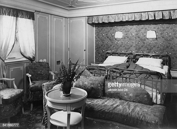 Steamship 'Columbus' of the shipping company Norddeutscher Lloyd Bedroom with double bed at the statecabin Photographer Heinrich Engelke 1924Vintage...