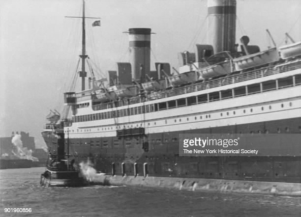 Steamship into port New York Harbor New York New York 1928
