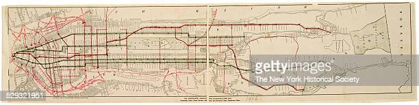 Steamship lines piers ferries subway and elevated lines crosstown lines 1906 Black and color ink on paper backed with cloth by Merchant's Association...