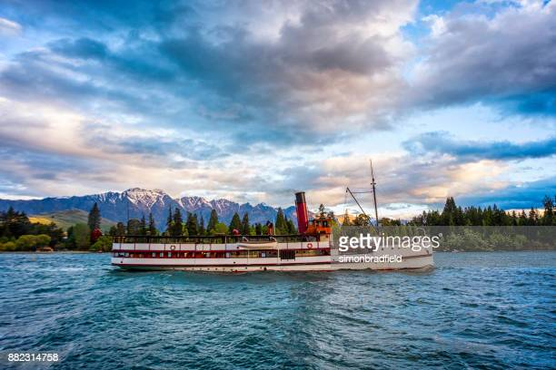 steamship ss earnslaw on lake wakatipu - ship funnel stock photos and pictures