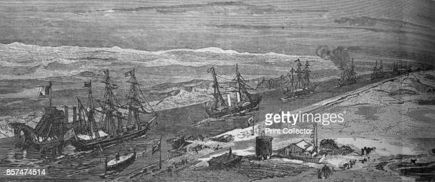 SteamShips Passing Through the Suez Canal' circa 1882 Episode of the AngloEgyptian War From British Battles on Land and Sea Vol IV by James Grant...