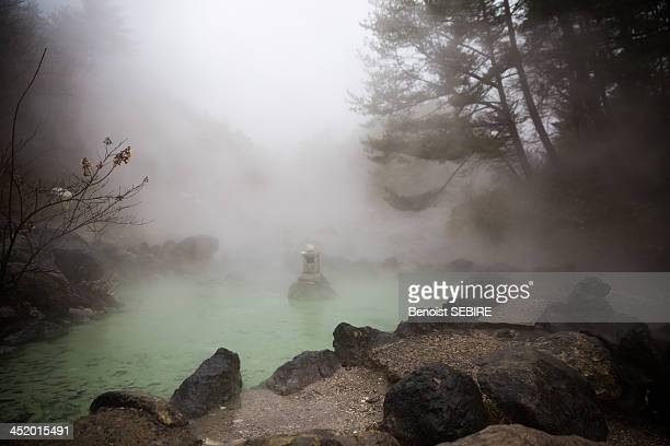 steamy kusatsu in gunma - gunma prefecture stock photos and pictures
