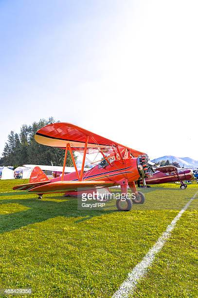 stearman airplane tent at fly-in hood river oregon - hood river valley stock pictures, royalty-free photos & images