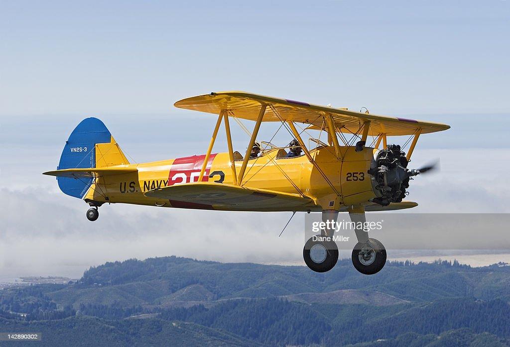 1943 Stearman biplane : Bildbanksbilder