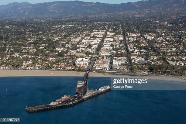 Stearns Wharf looking toward State Street and downtown is viewed in this aerial photo on February 23 in Santa Barbara California A combined series of...