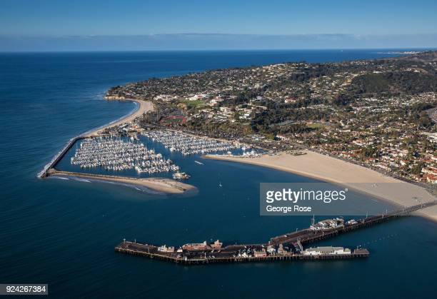Stearns Wharf looking toward the Marina is viewed in this aerial photo on February 23 in Santa Barbara California A combined series of natural...